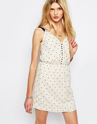 Sessun Spotted Mini Dress In Cream Cream