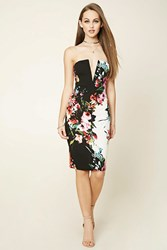 Forever 21 Strapless Floral Bodycon Dress