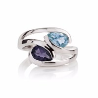 Manja Blue Topaz And Iolite Love Birds Ring Blue Silver