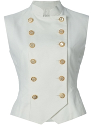 Yves Saint Laurent Vintage Double Breasted Waistcoat White