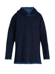 Marques Almeida Hooded Frayed Edge Denim Top Indigo