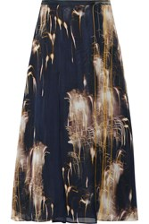 Mason By Michelle Mason Printed Silk Georgette Midi Skirt Midnight Blue