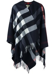 Burberry Checked Fringed Poncho Blue