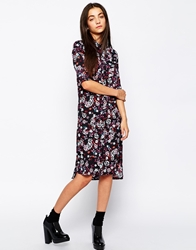 Influence Floral Print Shirt Dress With 3 4 Sleeves Multi