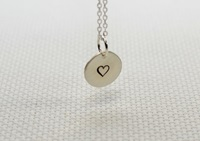 Sterling Silver Disc Charm Pendant With Heart By Nicilaskin