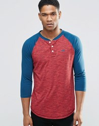 Hollister 3 4 Sleeve Baseball T Shirt In Burgundy In Slim Fit Burgundy Red