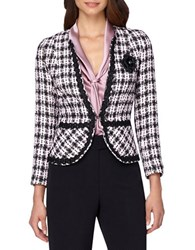 Tahari By Arthur S. Levine Tweed Blazer Pink Black