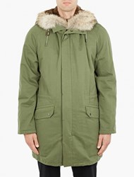Yves Salomon Olive Rabbit Fur Lined Parka