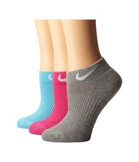 Nike Cotton Cushioned Low Cut With Moisture Management 3 Pair Pack Clearwater White Vivid Pink White Dark Grey Heather White Women's Low Cut Socks Shoes Multi