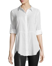 Halston Long Sleeve Button Front Shirt Linen White
