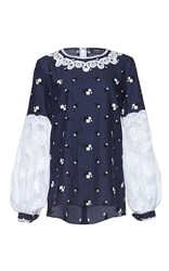 Andrew Gn Long Sleeve Floral Top Blue