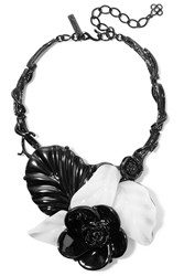 Oscar De La Renta Coated Metal And Resin Necklace Black