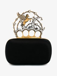 Alexander Mcqueen Silk And Crystal Unicorn Minaudiere Clutch Black Pearl