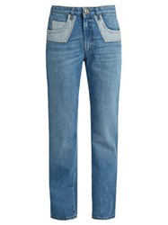 Sonia Rykiel Bi Colour Pockets Straight Leg Jeans Light Denim
