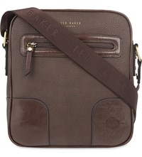 Ted Baker Embossed Leather Flight Bag Chocolate