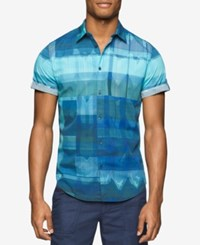 Calvin Klein Jeans Men's Diffused Ikat Print Short Sleeve Shirt Bay Blue