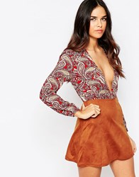 Rare Plunge Dress With Faux Suede Skirt Multi