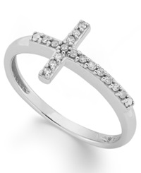 Macy's Diamond Sideways Cross Ring In 10K White Gold 1 10 Ct. T.W.