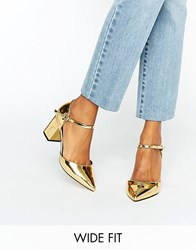 Asos Soraya Wide Fit Pointed Heels Gold