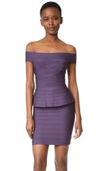 Herve Leger Magdalena Off Shoulder Dress Dark Dewberry