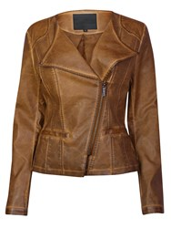 Lavand Casual Biker Jacket Brown