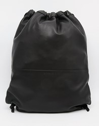 Sandqvist Leather Drawstring Backpack Black