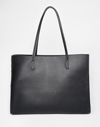 Asos Structured Shopper Bag With Removable Clutch Bag Black
