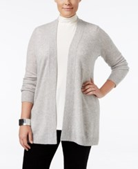 Charter Club Plus Size Cashmere Duster Cardigan Only At Macy's Heather Crystal