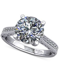 Macy's Diamond Artisan Solitaire Mount Setting With Filigree 1 6 Ct. T.W. In 14K White Gold