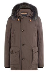Baldessarini Down Coat With Fur Trimmed Hood Brown