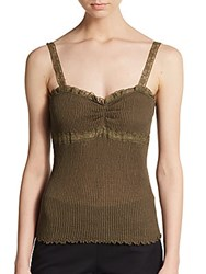 Valentino Lace Trimmed Knit Bustier Tank Olive