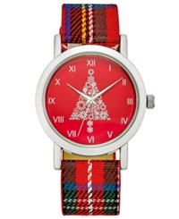 Charter Club Women's Plaid Strap Watch 28Mm Only At Macy's Silver