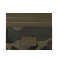 Valentino Bonded Camouflage Card Holder Green