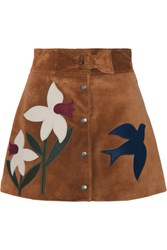Red Valentino Redvalentino Leather Trimmed Suede Mini Skirt Tan