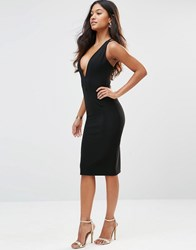 Rare Plunge Neck Ribbed Dress With Strappy Back Black