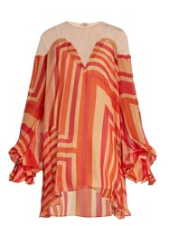 Katie Eary Geo Print Silk Chiffon Dress