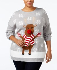 Ny Collection Plus Size Rudolph Holiday Sweater Happy Deer