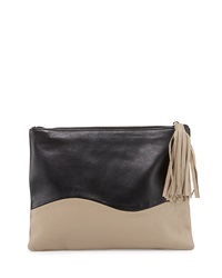 Winnie Two Tone Leather Evening Clutch Bag Black Taupe Lauren Merkin