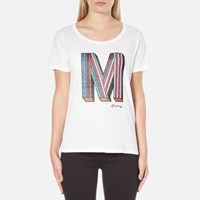 Maison Scotch Women's Crew Neck Clubhouse T Shirt With M Embellishment White