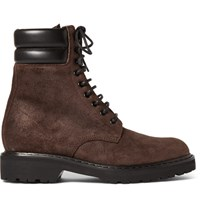 Saint Laurent Leather Trimmed Brushed Suede Boots Brown