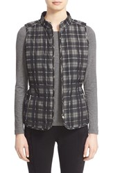 Lafayette 148 New York Petite Women's Reversible Quilted Vest Black Multi