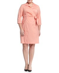 Lafayette 148 New York Plus Edeline 3 4 Sleeve Faux Wrap Dress Bloom
