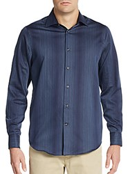 Report Collection Regular Fit Hombre Striped Cotton Sportshirt Navy