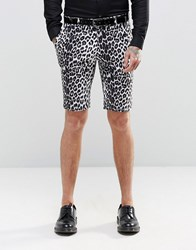 Religion Skinny Smart Shorts In Leopard Print Black
