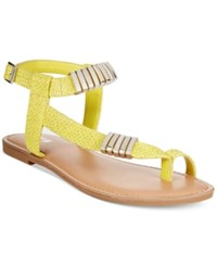 Bar Iii Verna Embelished Flat Sandals Only At Macy's Women's Shoes Yellow