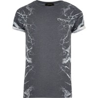 River Island Mens Grey Side Marble Print T Shirt