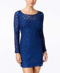 Jump Juniors' Sequined Lace Illusion Sheath Dress Navy