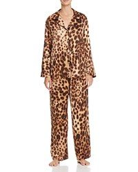 Natori Leopard Print Notch Collar Pajama Set Natural