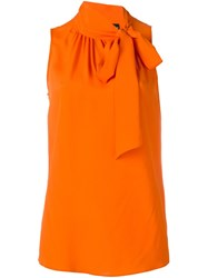 Boutique Moschino Knot Detail Sleeveless Blouse Yellow And Orange