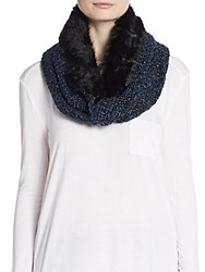 Saks Fifth Avenue Faux Fur And Marled Knit Infinity Scarf Black Blue